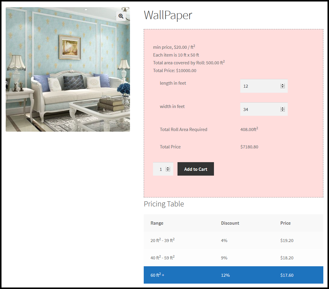 Woocommerce Measurement Price Calculator-product pricing by area