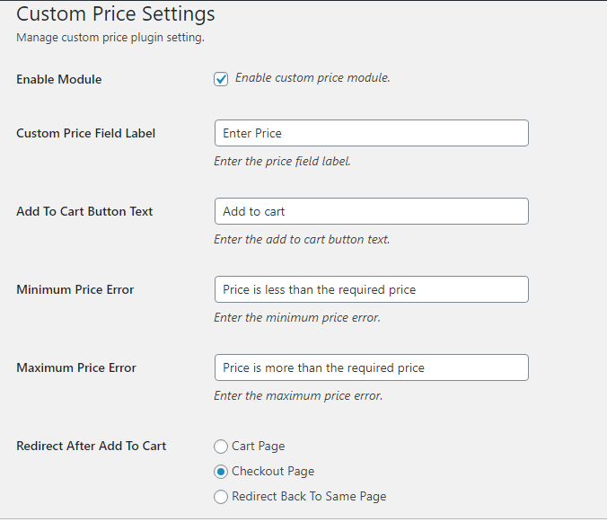 woocommerce custom price general settings