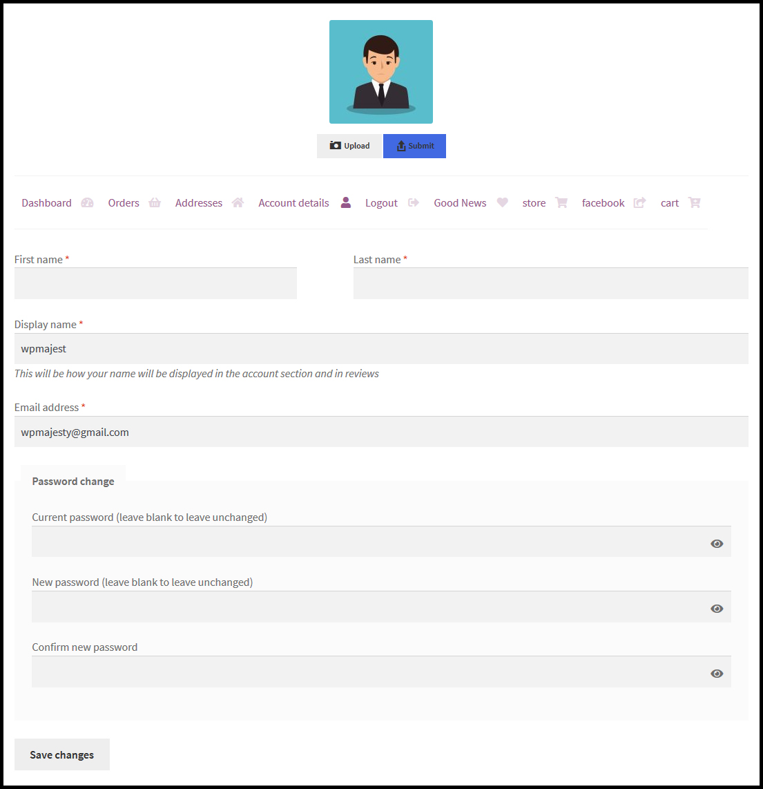 woocommerce customize my account page horizontal tabs layout