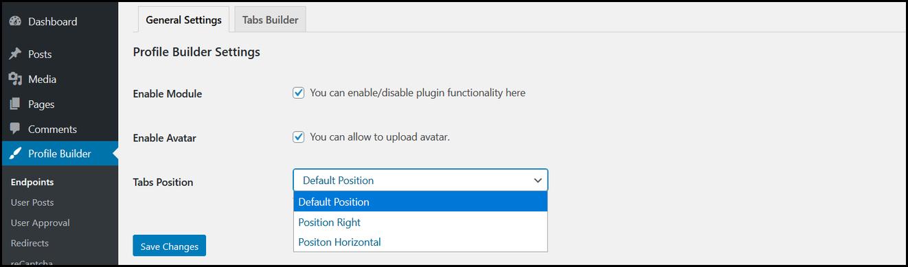 wordpress profile builder general settings