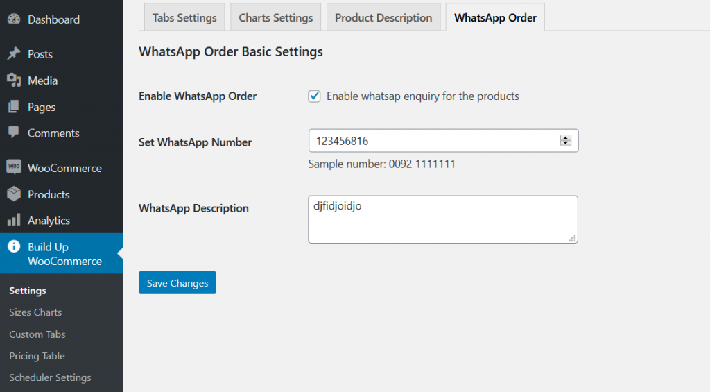 build up woocommerce wahtsapp order
