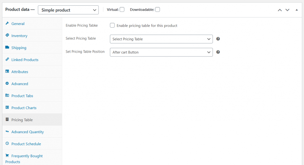 build up woocommerce pricing table product edit page