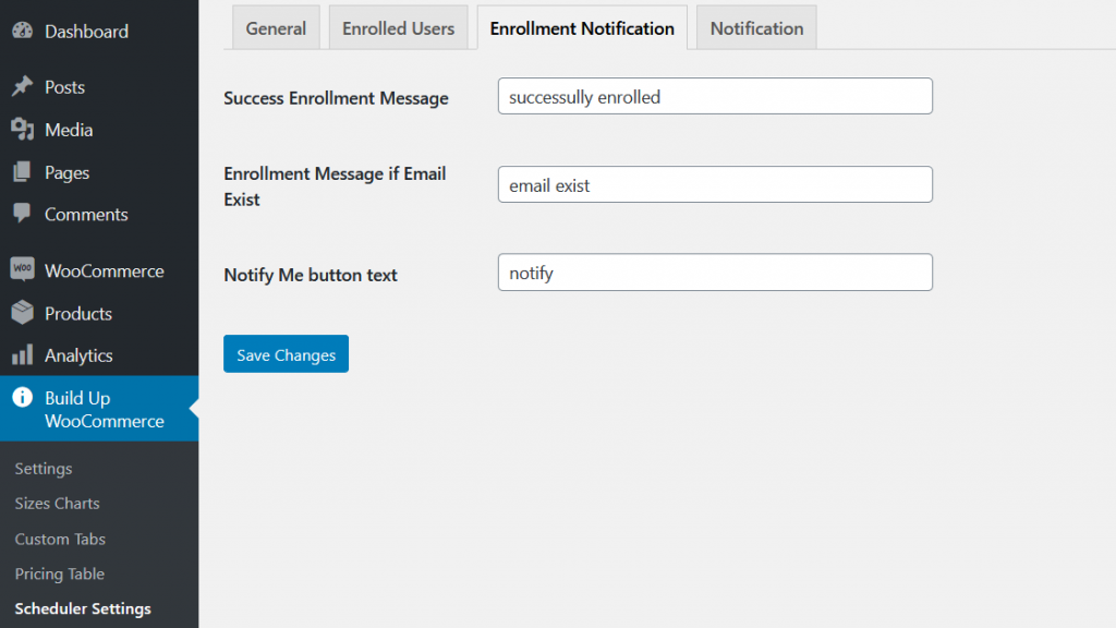 buildup woocommerce scheduler enrollment notification